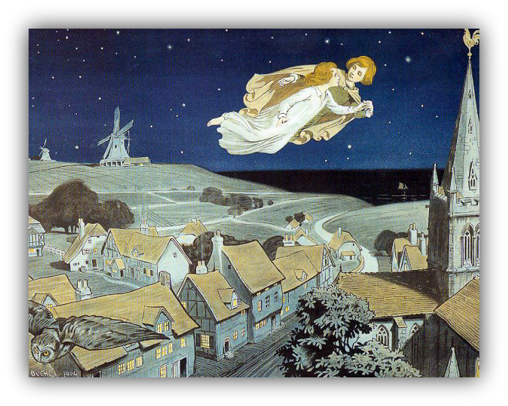 Peter Pan Wendy flying to Neverland J.M.Barrie by Chas Buchel 1904