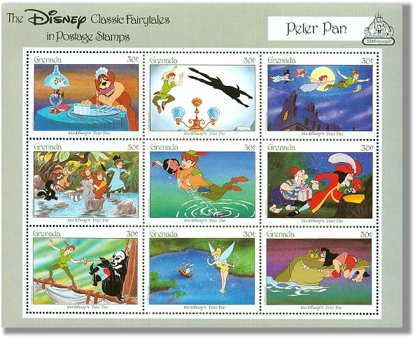 Grenada Sheetlet 9 stamps Disney Peter Pan