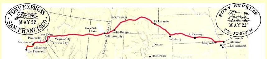 transcontinental pony express route