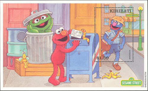 Kiribati-Sesame-Street-Mailbox on postage stamps