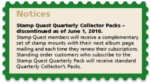 stamp quest collectors pack discontinuation notice