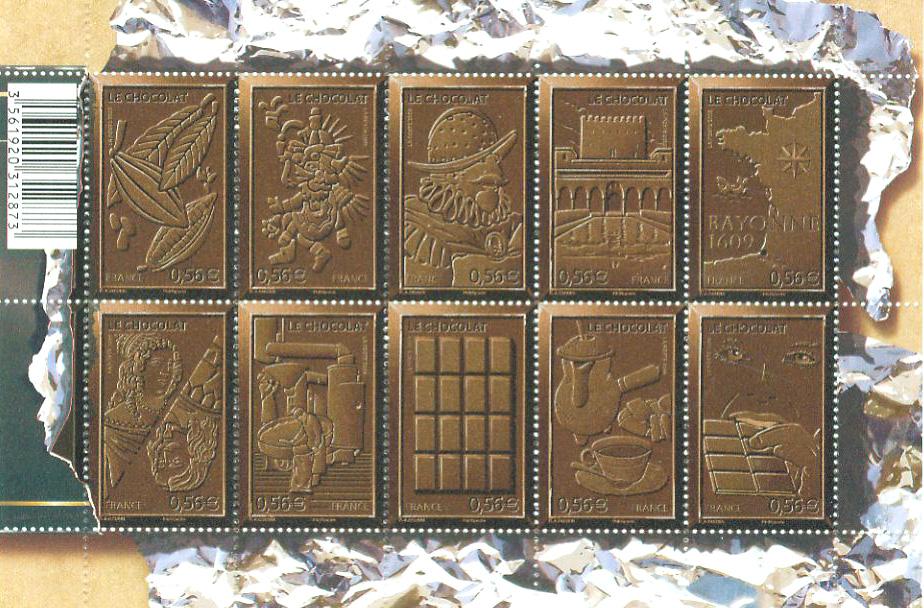 France - Chocolate Postage Stamp Sheetlet