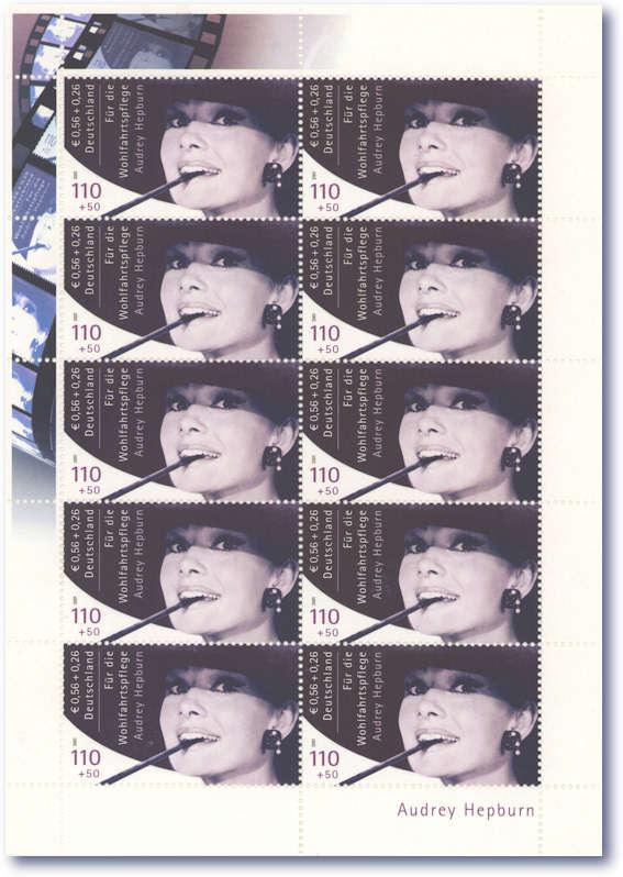 Audrey-Hepburn-Germany-Unique-Mint-Error-Sheet-of-Stamps