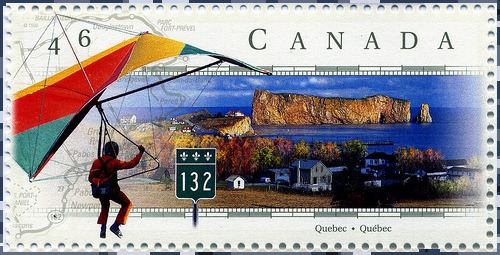 Route 132 to Rocher Perce Quebec on Canadian stamp