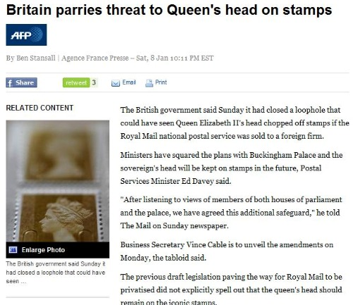AFP News Queen's Head To Be Chopped Off?