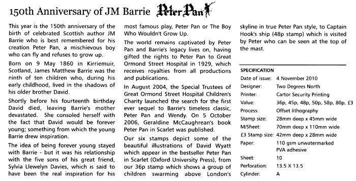 Peter Pan JM Barrie 150th Ann Alderney