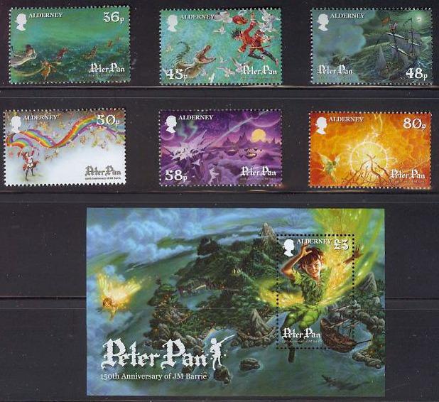 Alderney Peter Pan 150th Ann JM Barrie Postage Stamps