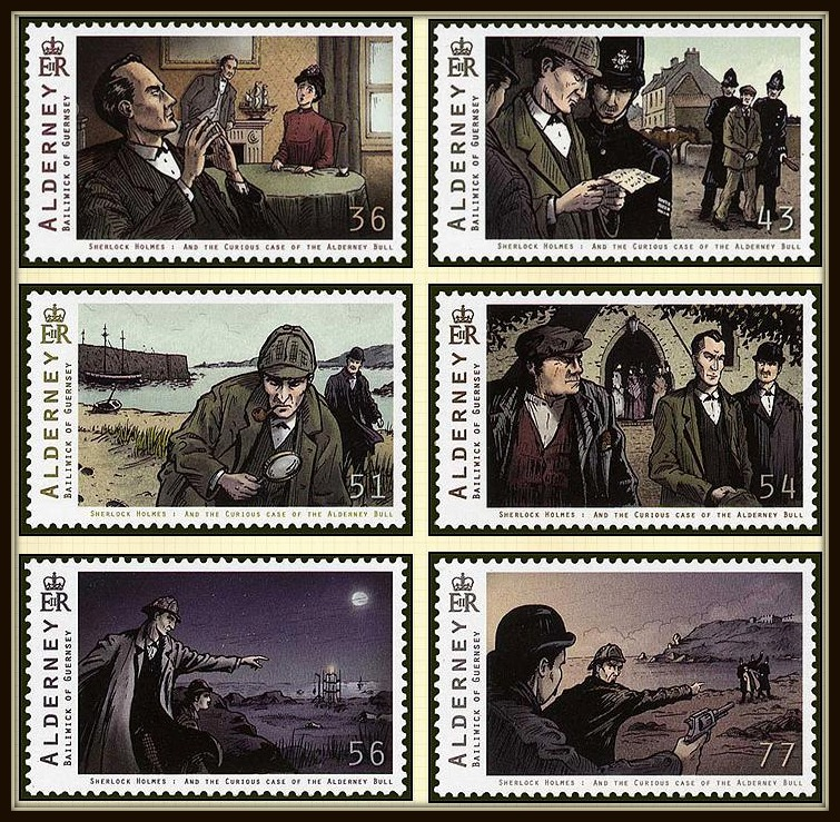 Alderney Postage Stamps - Sherlock Holmes Curious case of The Alderney Bull