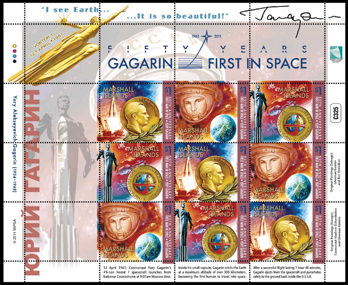 Marshall Islands - Yury Gagarin - Space on Stamps