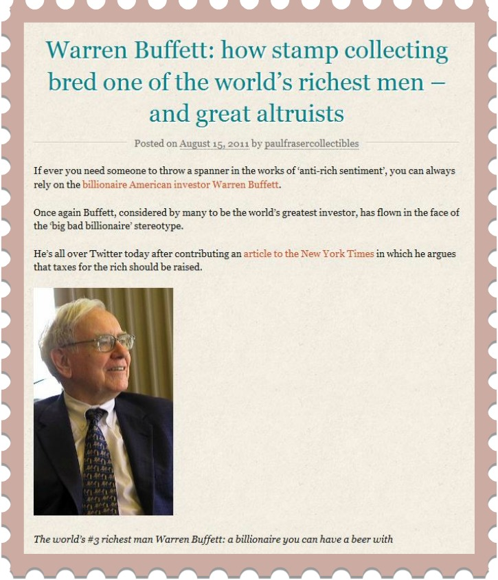 Paul Fraser Article On Warren Buffet And Stamp Collecting