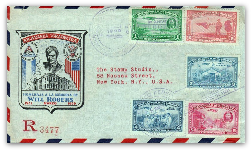 Nicaragua 1931 Will Rogers Airmail Stamps on FDC