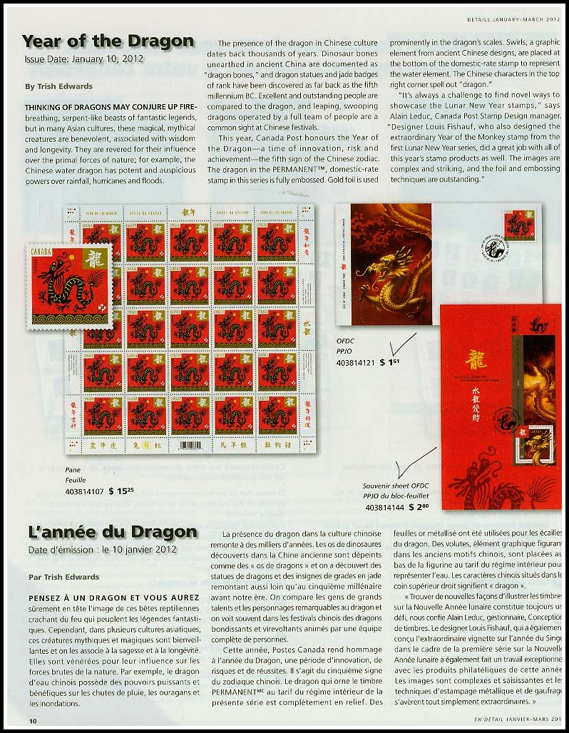 Canada Post Details Magazine Jan-March 2012 VOL XXI -No1 Year Dragon 10