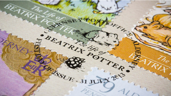 Life-of-Beatrix-Potter-Alderney-postage-stamps-topical-postmark