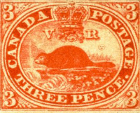 Canada 3 pence Beaver stamp 1851