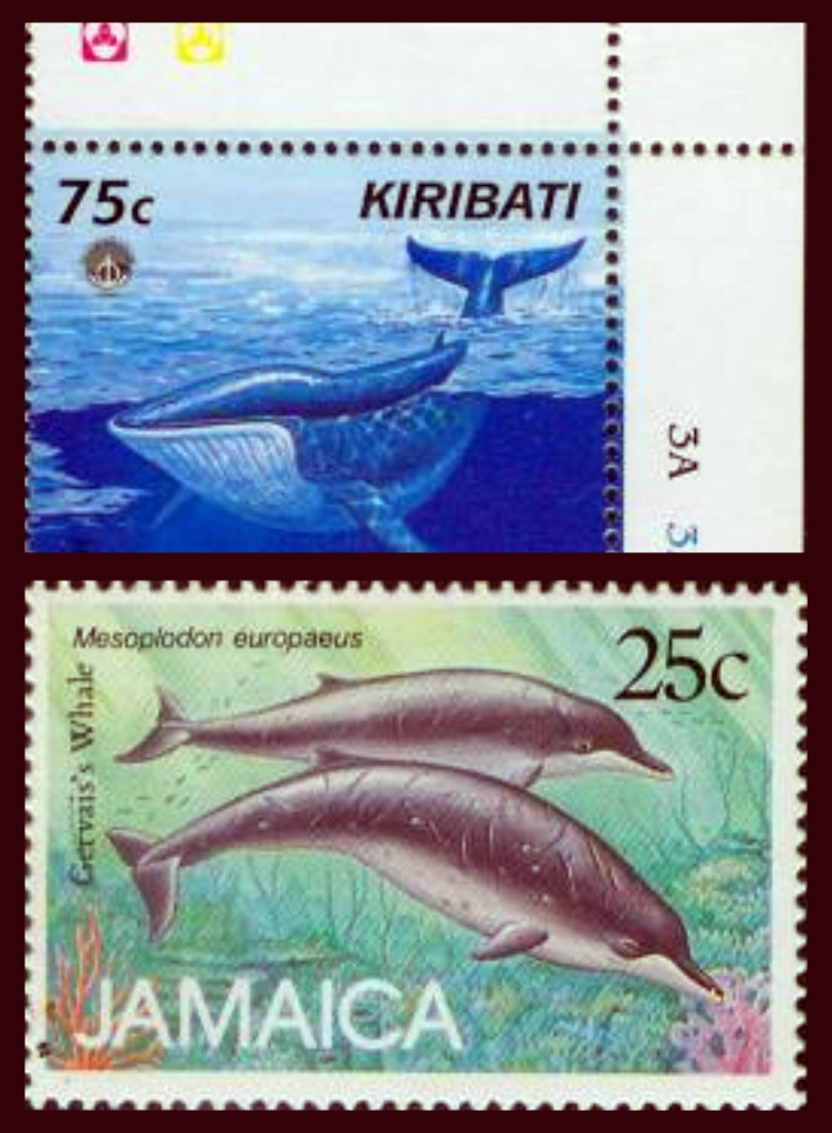 Whales on stamps kiribati jamaica