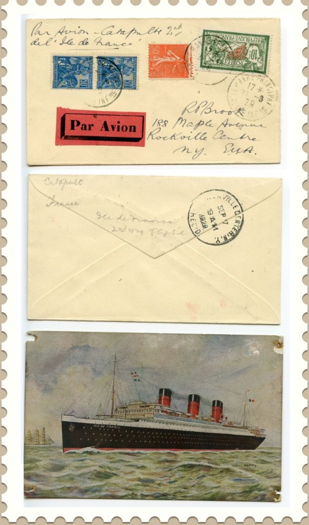 1929-Ile-de-France-Catapulted-Mail-Cover-Postcard