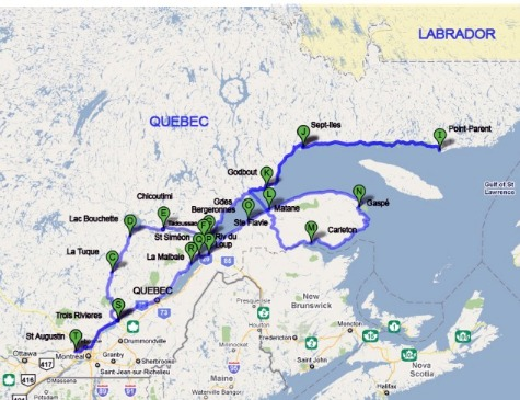 Quebec 1 Blue Road Travel map inspired by scottish author kenneth white
