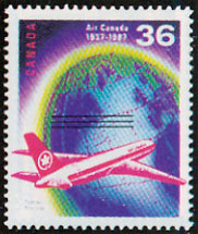 air canada 50th Anniversary on canadian stamp 1937-1987