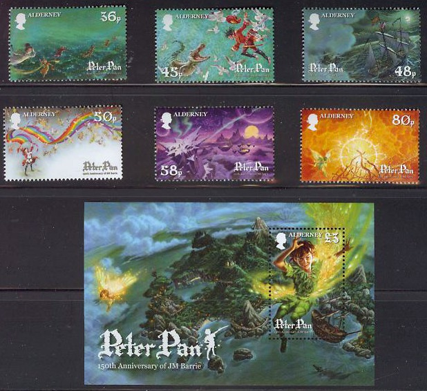 Alderney Peter Pan 150th Ann JM Barrie Postage Stamps