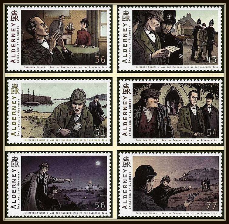 Alderney Postage Stamps - Sherlock Holmes Curious case of The Alderney Bull