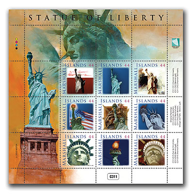 Marshall Islands Statue Of Liberty Postage Stamps