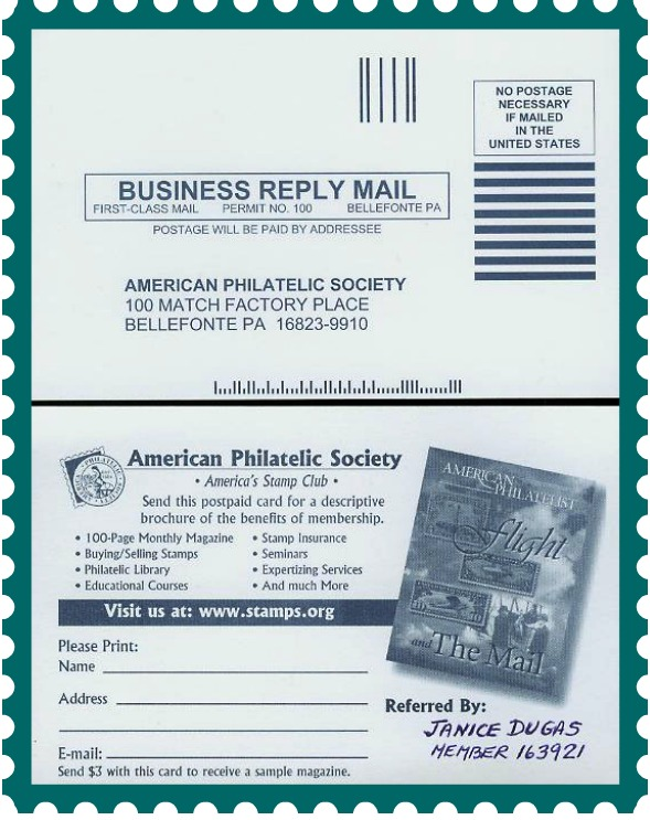 American Philatelic Society Membership Postcard