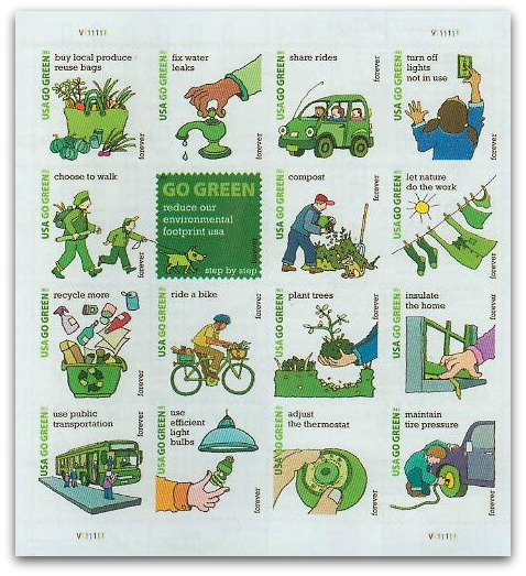 USA-2011-Go-Green-Pane-of-16-stamps