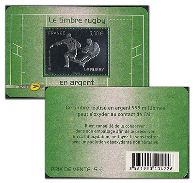 France Football Argent 2011 Rugby Silver Stamp