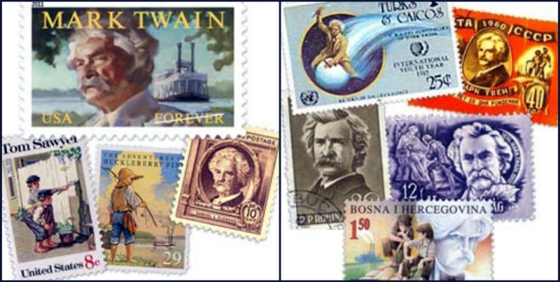 Mark Twain on Worldwide Postage Stamps -  Topical stamp Collecting