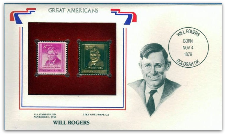 USA Gold Stamp Will Rogers