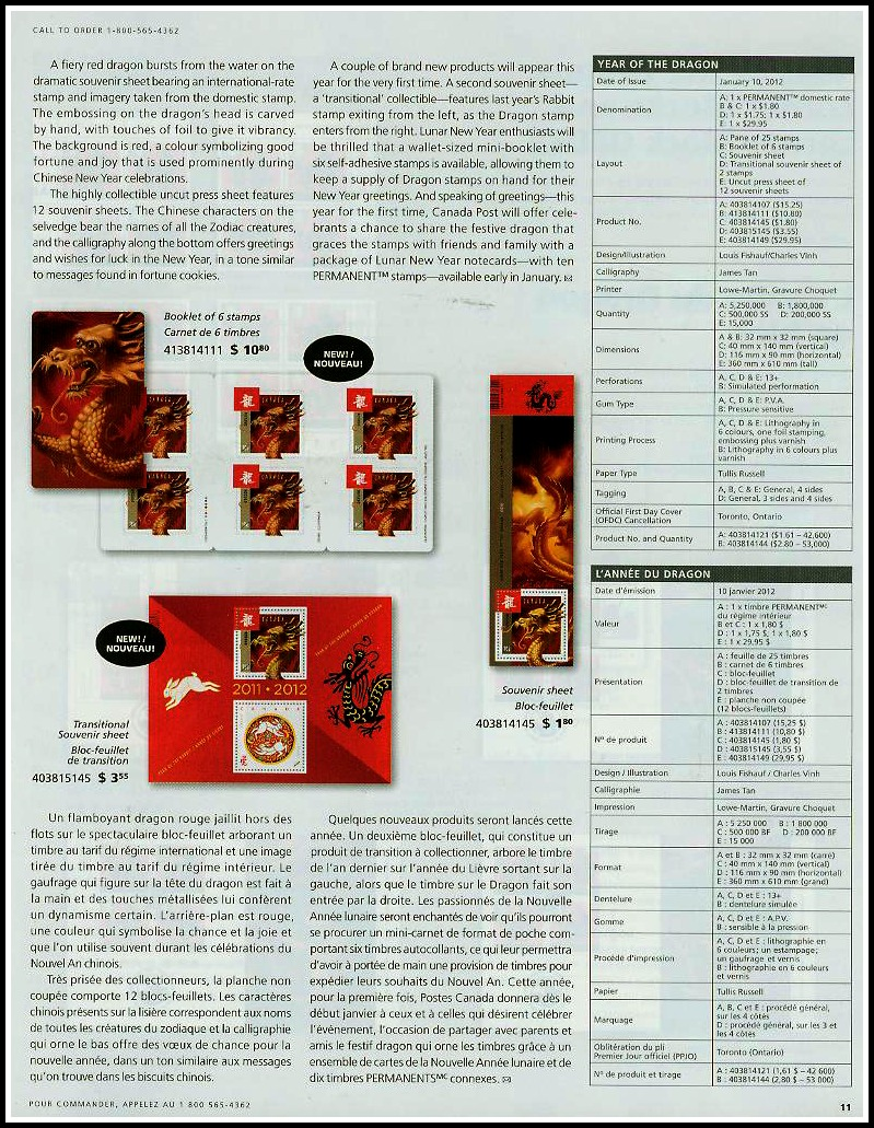 Canada Post Details Magazine Jan-March 2012 VOL XXI -No1 Year Dragon 11