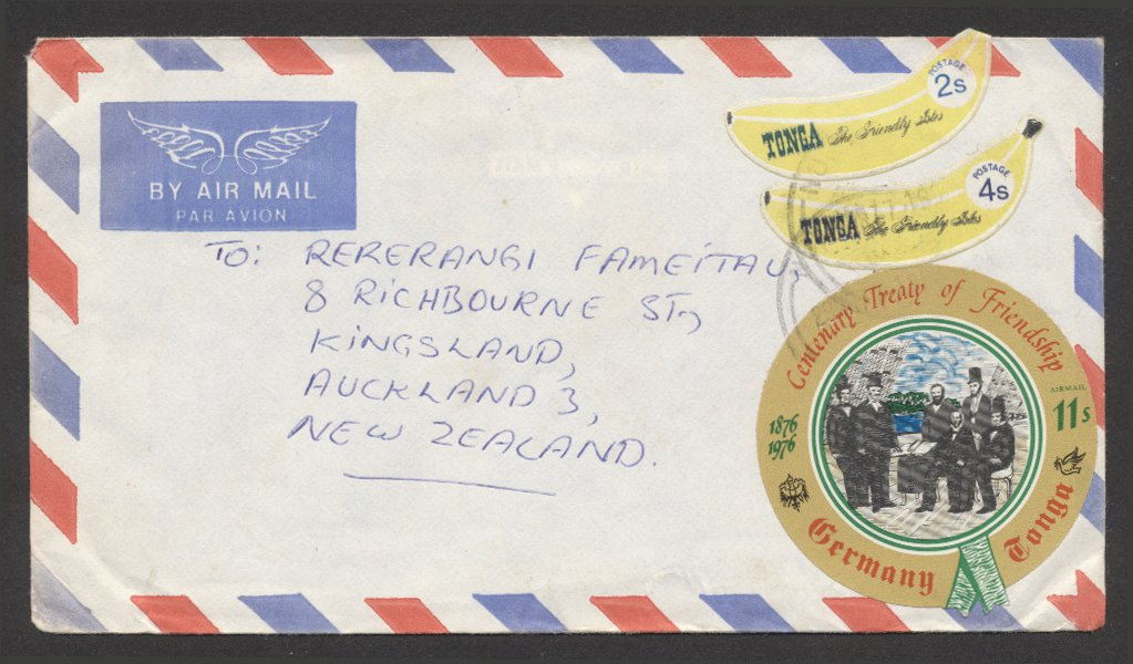 Tonga Banana Die-Cut Issues on Envelope - Postal History