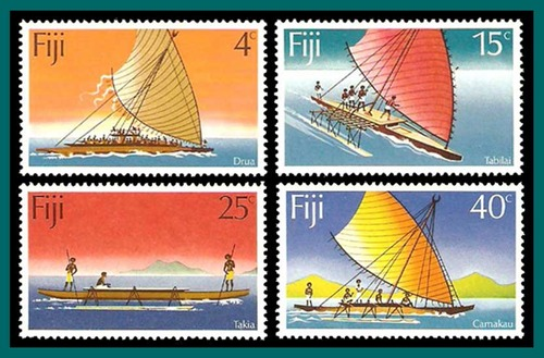 fiji-canoes-scott383-1977-set4-postage stamps