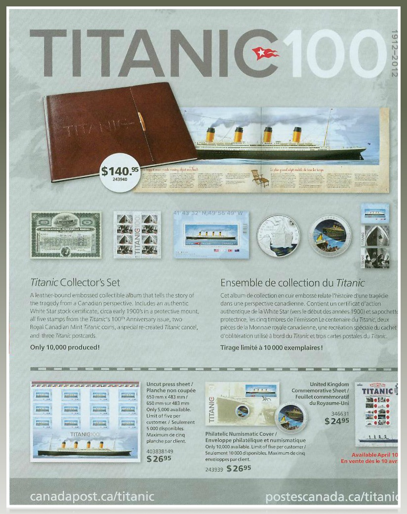 Titanic Collector's Set by Canada Post and Memorabilia