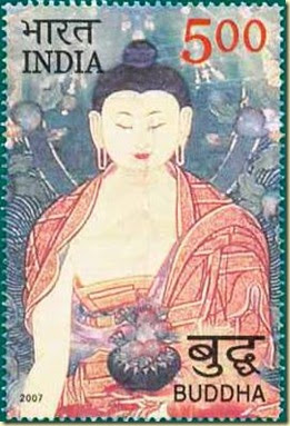 Bhudda on postage stamp from India
