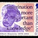 albert einstein imagination quote on postage stamps