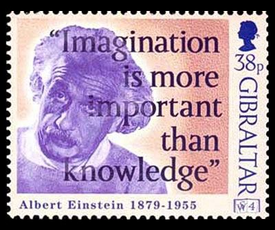 albert einstein imagination quote on postage stamps