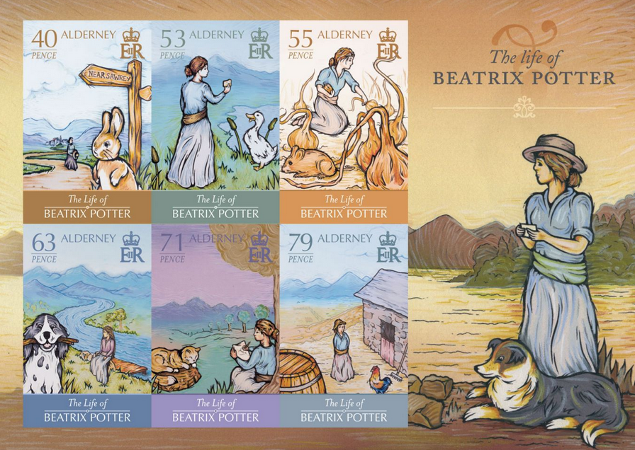 Life-of-Beatrix-Potter-Alderney-postage-stamps-collection