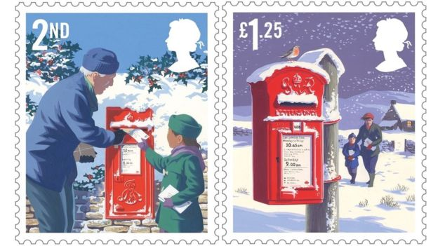 2018 great britain christmas postage stamps