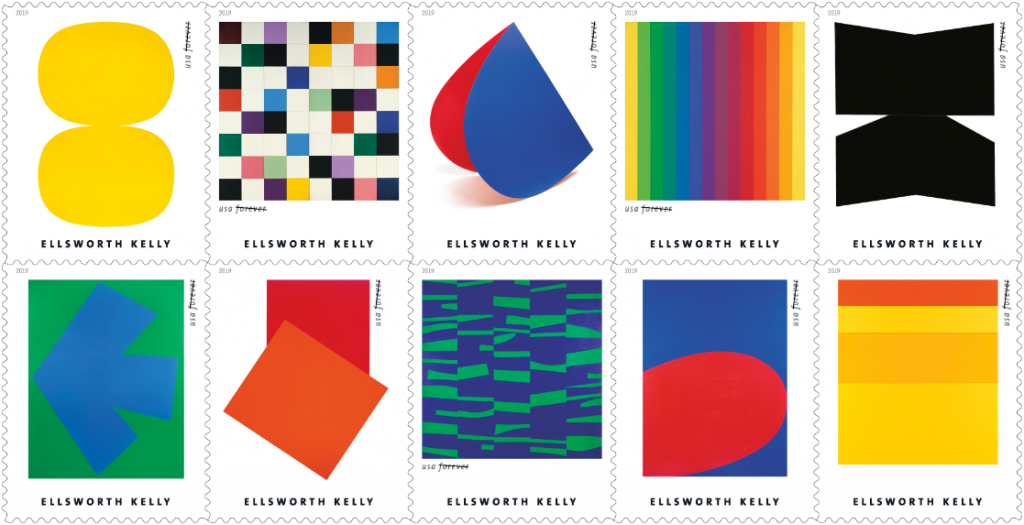 Ellsworth Kelly abstractionist on USA postage stamps 2019