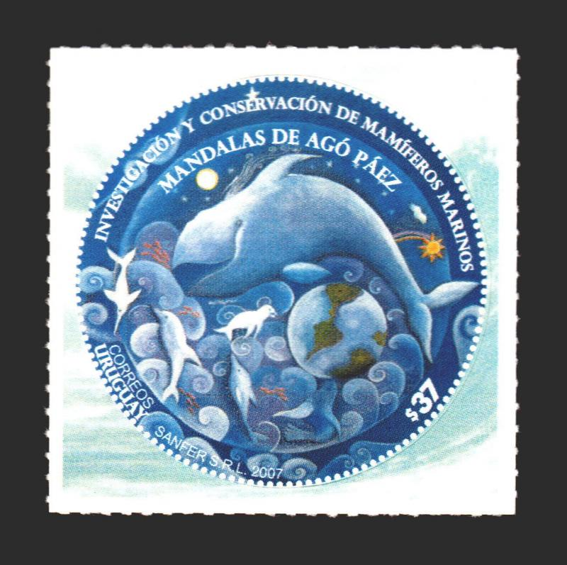 odd shaped postage stamps uruguay whale dolphin mandala